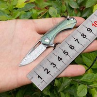 Wholesale microtech folding knives resale online - Damascus edc knife titanium alloy handle tactical microtech camping Hunting knifes pocket self defense mini fold knife gift for man