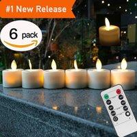 ingrosso luci a tè bianco a batteria-Candele telecomando a LED Confezione da 6 candele a fiamma senza fiamma a luce bianca calda a batteria
