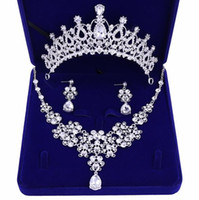 Wholesale bridal crystal sell resale online - Best selling high end bridal accessories crown necklace earrings three piece white rhinestone princess crown banquet headband