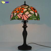 ingrosso lampade da tavolo arancioni-FUMAT Lampada da tavolo floreale arancione Lampada da tavolo Tiffany in vetro colorato fatto a mano in stile europeo per lampade da comodino