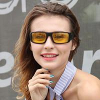 lentes amarillas al por mayor-Gafas de sol de visión nocturna polarizadas calientes Hombres Deporte Gafas de sol Gafas de sol Mujeres Lente amarilla antirreflejos Conductor de seguridad Gafas