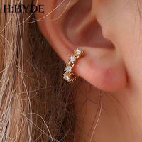 clip sin perforado al por mayor-H: HYDE Pendientes de clip de color dorado sin piercing de oreja Brinco Ear Cuff On Earrings para las mujeres Joyería de cristal boucle d oreille DY