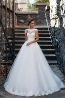 Wholesale milla nova wedding dresses for sale - Group buy 2020 Cheap Milla Nova A Line Wedding Dresses Illusion Lace Appliques Beaded Crystal Sashes Puffy Open Back Plus Size Formal Bridal Gowns