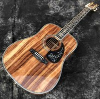 Wholesale guitar without resale online - Solid Koa Wood BIG VASE Inlay Round Body Abalone Binding Classic Acoustic Guitar Without pickup customize logo headstock is ok