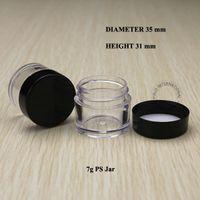 ingrosso vasi campione piccoli-100pcs 7g vasetti cosmetici vuoti che imballano piccolo barattolo di plastica con coperchio Contenitori per campioni Scatola per pentole per polvere polacca Glitter Art