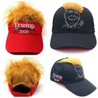 kapak sivri uçları toptan satış-Çivili Sahte Saç Peruk Katı Renk Ayarlanabilir güneşlik şapka Hip Hop Streetwear Hediye MMA2965-A1 ile Trump Beyzbol Şapkası