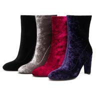 grandes saltos grossos venda por atacado-tamanho grande 33 para 44 45 46 vestido botas de salto alto botas de veludo borgonha apontado de calcanhar de espessura botas desenhador