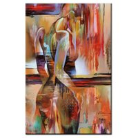 Wholesale nude girl paintings for sale - Group buy Hand painted Modern Nude Woman Portrait Oil Painting on Canvas red orange Abstract fashion Naked GIRLS Pictures for Living Room