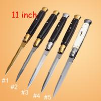 couteau de poche en corne achat en gros de-Nouveau 5 STYLE 11 pouce italien mafia tactique AUTO couteau pliant 9CR18MOV lame Black Horn Handle EDC outil couteaux de poche