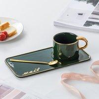 seramik çay sehpası seti toptan satış-İngiliz kahve fincanı çayı set İskandinav küçük ışık lüks highgrade kaşık fincan tabağı set su fincan altın seramik boyalı