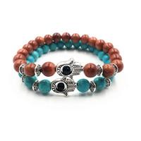 ingrosso braccialetto a mano d'energia-10 Stili Moda Donna e Uomo 8mm Pietra Naturale Healing Energy Stone Yoga Hamsa Mano Evil Eye Beads Bracelet Regalo di Natale D273S A