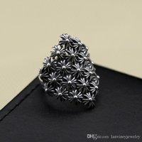 anillos abiertos antiguos de plata al por mayor-Marca 925 joyería fina de plata esterlina vintage cruz americana diseñador para hombre anillos ajustables abiertos gruesos anillos de banda plata antigua