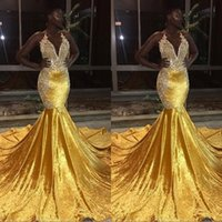Wholesale backless fishtail prom dress for sale - Group buy New Gold Mermaid Prom Dresses for Black Girls Sheer Crew Neck Appliques Long Fishtail Evening Gowns Cheap Formal vestidos festa