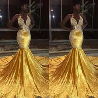 vestidos de rabo de peixe preto venda por atacado-New Gold Sereia Vestidos de Baile para Meninas Negras Sheer Tripulação Pescoço Apliques Longo Fishtail Evening Vestidos Baratos Formal vestidos festa