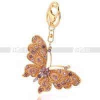 ingrosso portachiavi farfalle-Il pendente della farfalla di volo dei monili dei Keychains placcati oro 18k per fascino della borsa delle donne libera il trasporto