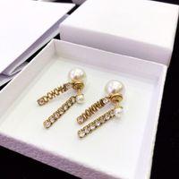Wholesale white diamond pearl resale online - Super hot classic alphabet diamond plated thick gold tassel pearl fashion designer earrings luxury designer jewelry women earrings