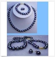 boucles d'oreilles en perle akoya noir 14k achat en gros de-Collier / bracelet / boucles d'oreilles avec perles de culture Akoya noires de 7-8mm, 18