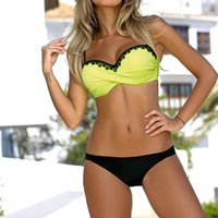 maiô de tamanho amarelo mais tamanho venda por atacado-Mulheres Lace Amarelo Push Up Swimsuit Sexy Acolchoado Bikini Set 2019 Verão Maiô Quente Beachwear Europa Plus Size Swimwear