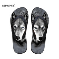 Wholesale horse canvas prints for sale - Group buy INSTANTARTS D Crazy Horse Flip Flops for Women Summer Ladies Soft Rubber Outside Slippers Animal Wolf Print Teenager Flipflops