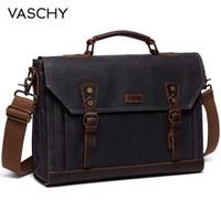 bolsa de cuero vintage para laptop al por mayor-VASCHY Canvas Messenger Bag for Men Vintage Leather Bag Men Maletín de lona encerado para 17.3 pulgadas Laptop Bags de oficina