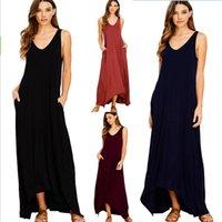 ana kız modası toptan satış-Moda Anne ve Kızı elbise Tankı Elbiseler Kadın Plaj Elbise Büyük boyun ile Yüksek-düşük Hems Katı Cep Uzun stil Ücretsiz DHL