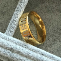 Wholesale lord steel resale online - USpecial High quality mm Titanium Steel K gold plated jesus cross Letter the lord wedding band ring men women