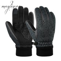 Wholesale leather mittens xl for sale - Group buy Maylisacc Kintted Full Finger Gloves Mittens Winter Warm PU Leather Touch Screen Gloves for Unisex Driving Skating Skiing