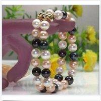 schönes schwarzes perlenarmband großhandel-schöner 2 Reihen 9-10mm Sea White Pink Black South Pearl Armband 14K Gold Verschluss