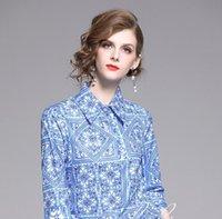 синие белые принты блузка оптовых-2019 Новое поступление Синий и белый фарфор печатных женщин блузки женская блузка рубашки женские рубашки на продажу