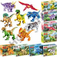 dünya blokları toptan satış-Legoings Jurassic Dinozorlar Dünya Parkı Dinozor Raptor koruma bölgesi Yapı Taşları Set Çocuk Oyuncakları juguetes Uyumlu Legoing doll