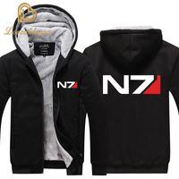 Wholesale mass effect for sale - Group buy EU size Men Mass Effect N7 Zipper Jacket Sweatshirts Thicken Hoodie Coat Casual sweatshirts men fashion hoodie streetwear