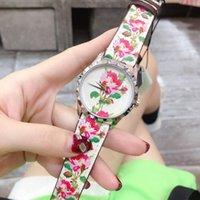 relógios de pulso bege venda por atacado-Top Luxury Women female Relógio de pulso Top Designer Timeless bege Flower print leather strap strap Geranium print Womens Watches gc