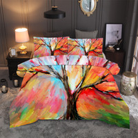 Wholesale 3d oil printing bedding set resale online - BEST WENSD Home D Digital Printing life tree Bedding Sets Microfiber duvet cover with pillowcase Watercolor Oil Painting