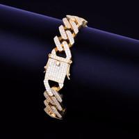 pulsera de latón dorado al por mayor-Recién llegados Ice Out Brass Matreial con CZ Stones Pulsera cubana para hombre Gold Rock Street Pulsera Hip Hop Jewelry