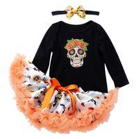 Wholesale girls long tutus resale online - Halloween children clothing sets long sleeved pumpkin print top jumpsuit tutu skirt headhand three piece baby girl romper outfits M126