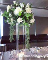 ingrosso supporto fiore nero-Nuovo stile Wedding Gold o Black Metal Flower Stand Frame Colonna per sfondo o strada principale best01124