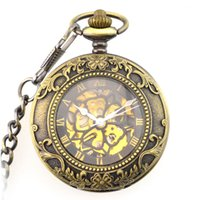 Fashion Steampunk Pendant for Men Women Hand Winding Mechanical Pocket Watch Roman Numerals Skeleton Watches FOB Chain