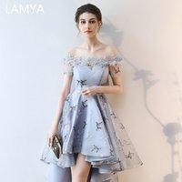 Lamya Bordado Vestidos De Fiesta Cortos Delante Detrás De La Cola Larga Banquete Vestidos De Noche Elegantes 2019 Formal Del Vestido Del Partido Del