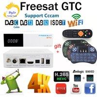 Wholesale android box tv tuner for sale - Group buy Freesat GTC Satellite Receiver Set top box android Amlogic S905D DVB S2 DVB C DVB T2 ISDB T GB RAM GB ROM Wifi G BT4