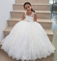 Wholesale occasion dresses for kids online - Princess A Line Lace Flower Girls Dresses For Wedding Lace Up Back Girls Pageant Dress With Sash Kids Special Occasion Gowns Floor Length