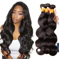 paquetes de pelo brasileño de 28 pulgadas al por mayor-3 Bundles Brasileño Body Wave Hair Bundles 100% Armadura de cabello humano Color natural Uniqueme No Remy Extensión de cabello 8-28 pulgadas Envío gratis
