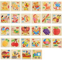 puzzles dos desenhos animados dos animais venda por atacado-Crianças Quebra-cabeças 3D Brinquedos De Madeira Jigsaw Crianças Animais Dos Desenhos Animados divertidos Puzzles Inteligência Crianças Early Educacional Treinamento Brinquedos FFA2213