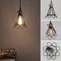 ingrosso lampada nera diy-Fashion Vintage Wire Lampada a gabbia diy paralume lampada lampada industriale guardia paralume paralume classico nero Nordic Bulb Cover
