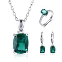 ingrosso orecchini di smeraldo della collana-Wedding New Nano Aquamarine blu cielo anello verde smeraldo Set orecchini 925 gioielli in argento sterling Set collana donna regali