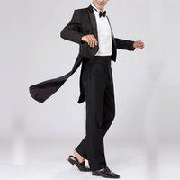 ingrosso vestito nero vestito lucido del girocollo-LITTHING Nuovo Tuxedo Dress XS-XL Uomo Classic Black Shiny Lapel Tail Coat Tuxedo Wedding Groom Stage Singer Slim Fit 2 pezzi Tute