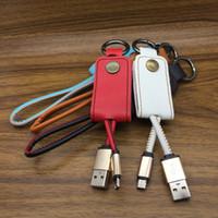 cabo de corda venda por atacado-Cordão de couro Chaveiro de Metal 2A USB cabo Carregador de Dados micro tipo c V8 Cabo para samsung S7 S8 huawei lg android para telefone XS XR XSmax