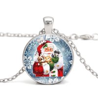 Wholesale time chains resale online - Christmas Necklace Time Gem Cabochon Necklace Santa Claus Snowman Crystal Necklaces Long Chain Christmas Pendant Jewelry styles GGA2670