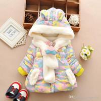 kızlar yastıkları takıyorlar toptan satış-Sevimli Tavşan Bebek Kış Ceket Kalın Pamuk-Yastıklı Bebek Kız Dış Giyim Bebek Bebek Boys Parka Bebek Kız Kar WL1176 Wear