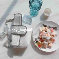 мини-белый цвет сумочка оптовых-Женская мини-сумка класса люкс из натуральной кожи Leahter Дизайнерская сумка Гладкая мягкая леди Pure Color Bag Кредитная карта Кошелек для монет Черно-белая цепная сумка