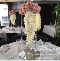 merkez kristaller toptan satış-Evlilik Çiçek Ayağı sütun sütun Düğün Centerpiece Dekorasyon kristal Çiçek Vazo Aksesuarları Masa Düzenlemeleri 80 cm Uzun Boylu